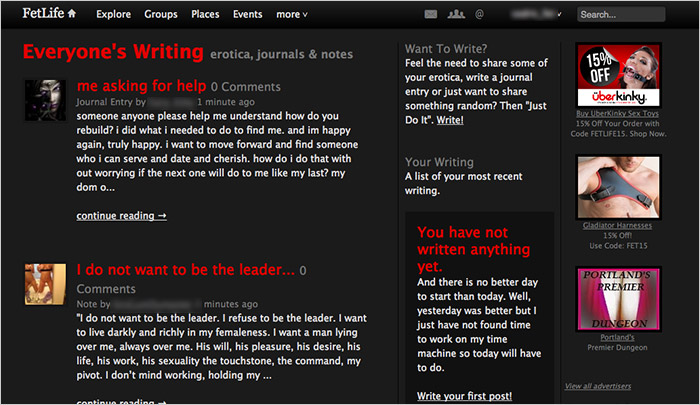 FetLife's erotica, journals and notes - screenshot by Fetish.com