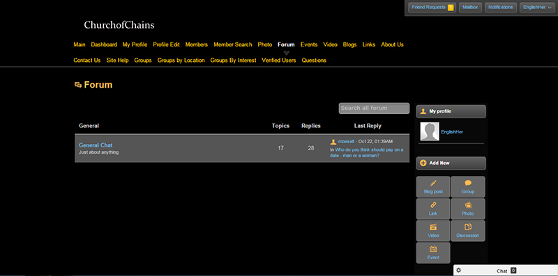 A screenshot of the forum page on Church of Chains