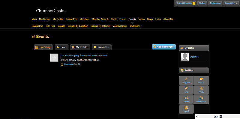 A screenshot of the events page on Church of Chains