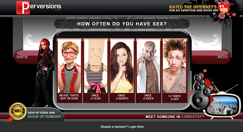 A screenshot from Perversions.com in which people state how often they have sex