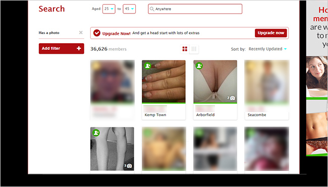 The Fetish Dating Club: a screenshot showing images from member profiles