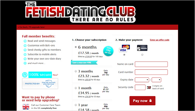 The Fetish Dating Club: a screenshot of membership options and prices