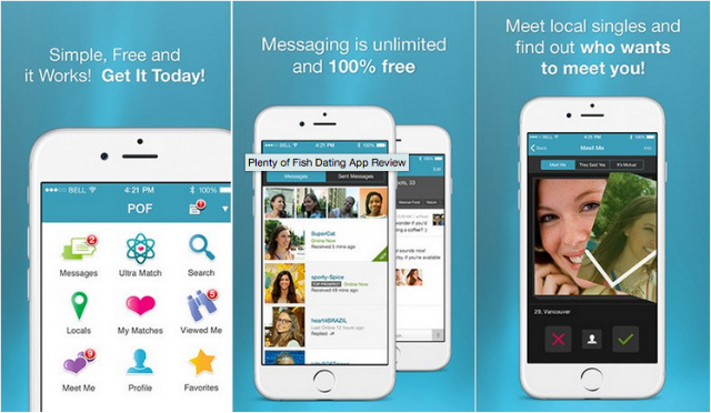 Image of a mobile screenshot of Plenty of Fish, POF