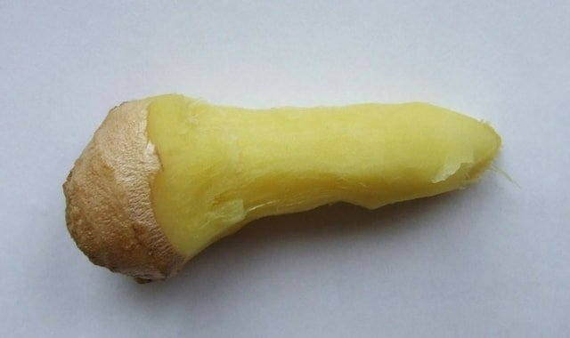 Pared finger of a ginger root used for BDSM figging