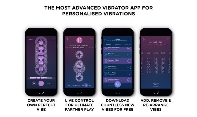 App screenshots of the MysteryVibe Crescendo smart vibrator