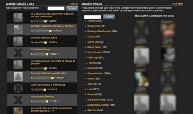 Screenshot from Alt.com members page