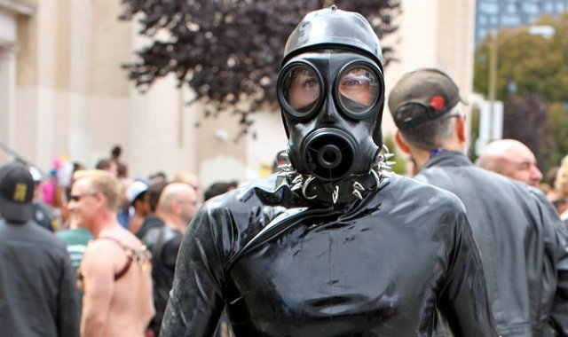 man in a gimp suit