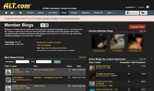 Screenshot from Alt.com home page