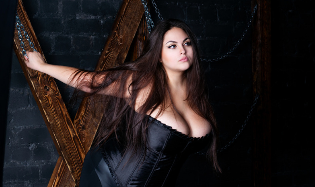 confident plus-size model in bdsm kinky play